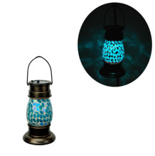 Solar Mason Jar Light Mosaik Kaca <span class=keywords><strong>Lampu</strong></span> Timer LED dengan Hook