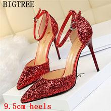 Женские Блестящие Туфли Мэри Джейн, свадебные туфли на каблуке-шпильке, красного цвета, Новое поступление 2020(China)