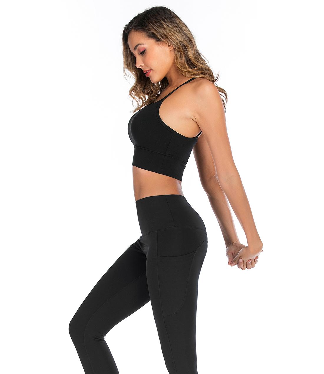 SESEASUN gym fitness yoga hosen seite tasche steigbügel sexy butt lift private label nahtlose leggings