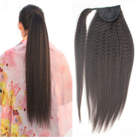 Kinky Straight Human Hair Ponytail Virgin BrazilianYaki Straight Wrap Around Ponytails