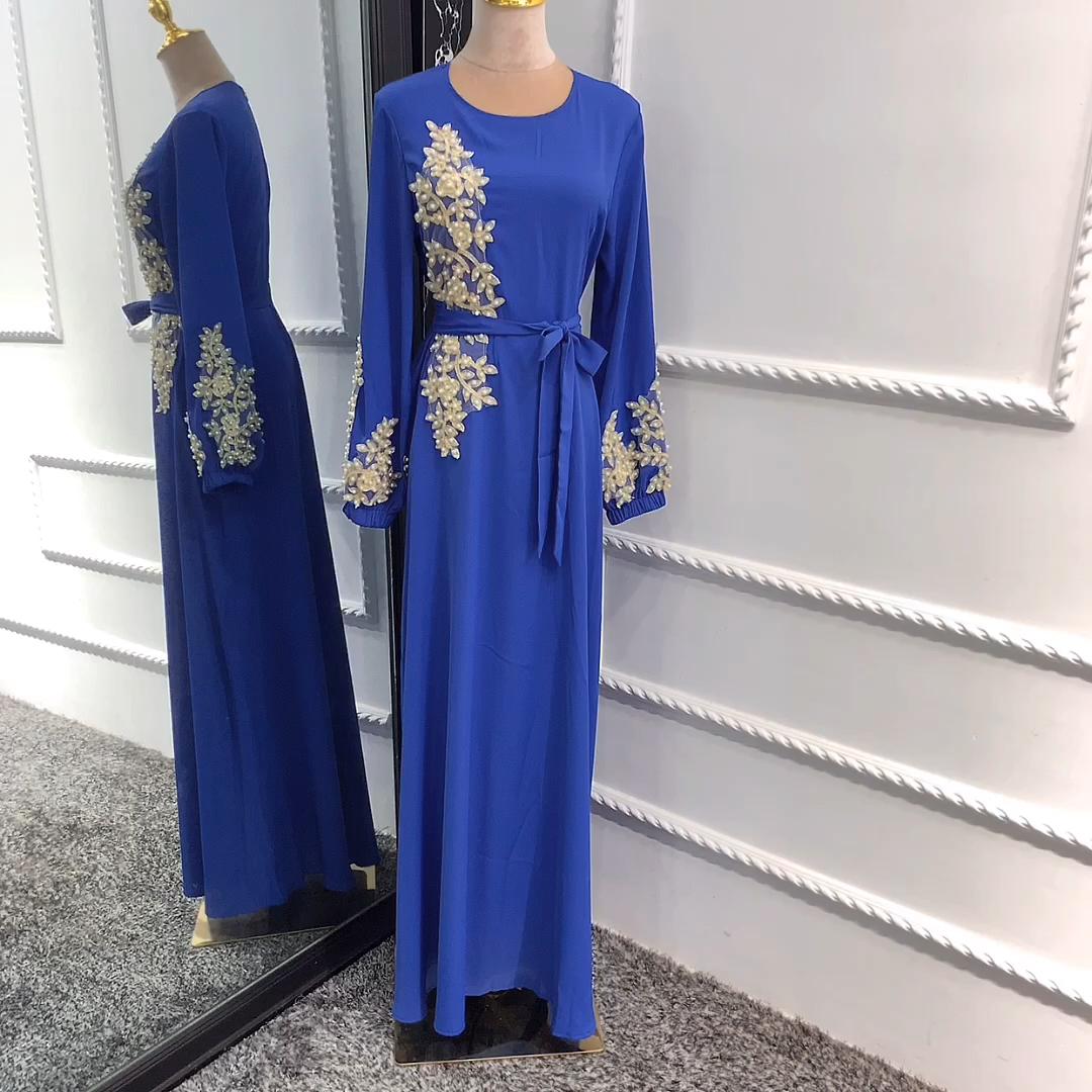 New fashion beaded embroidery maxi dress round neck summer muslim women nida dress abaya