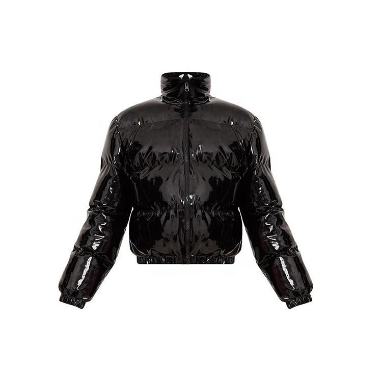 Custom Men's Winter Black Shiny PVC Vinyl Short Puffer Down Bomber Jacket Coats