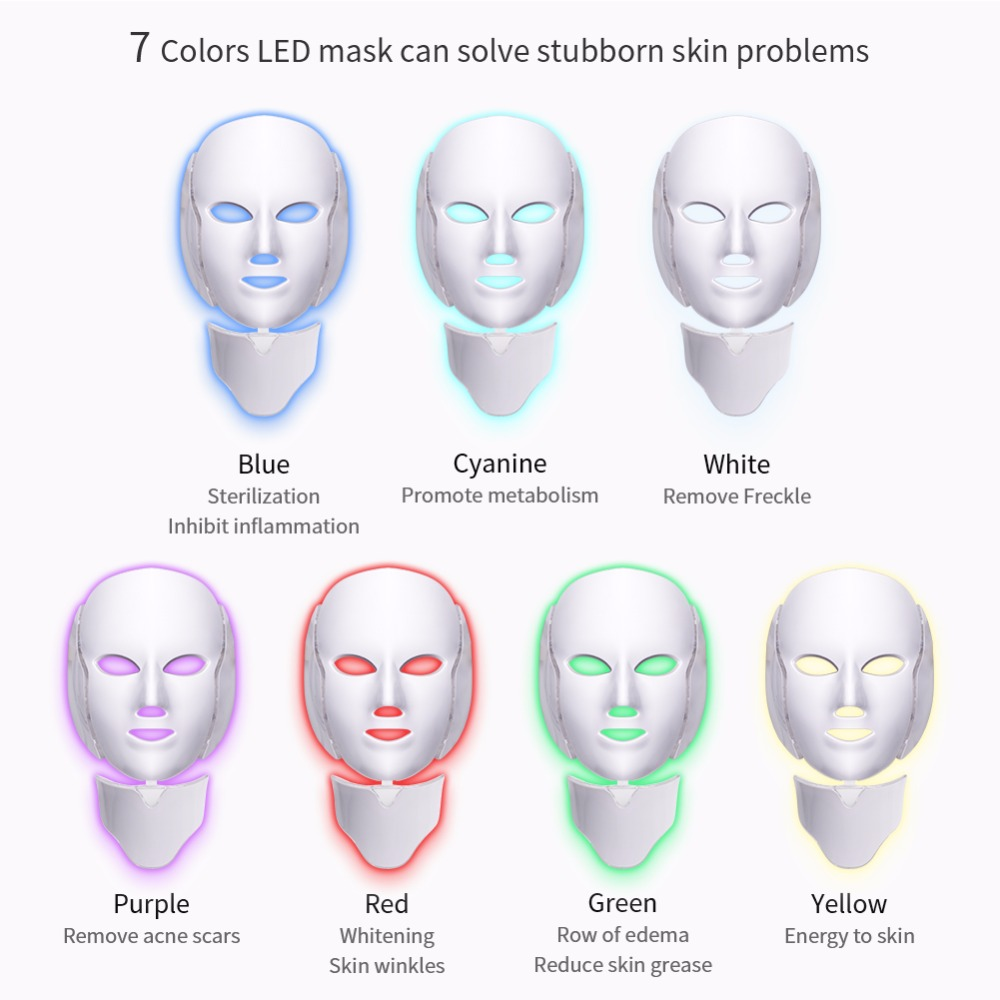 PDT Photon Light Facial Skin Beauty Therapy 7 Colors LED Face Mask