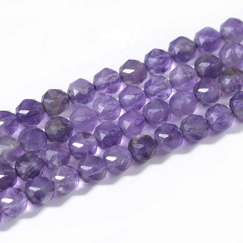 Cliobeads Natural loose gemstone genuine faceted Amethyst 4mm star cut round beads for necklace jewelry making