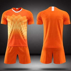 Netherlands orange soccer uniform adult kids sublimation football jersey set cheap custom logo soccer jerseys