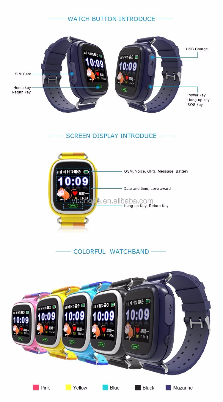 New arrival products custom baby gps tracker kids led touch screen gsm smart phone watch in shenzhen factory