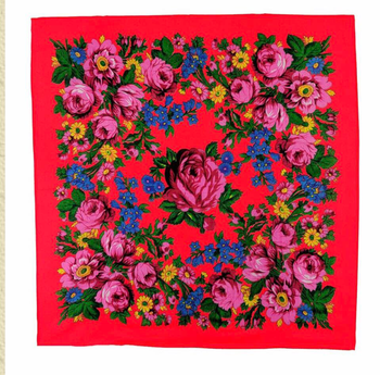 2020 Hot Sale Wholesale Lady Print Flowers Cotton Feeling Acrylic Square Russian Scarf