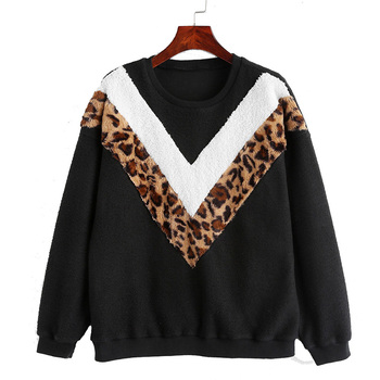 Round neck long sleeve leopard fashion women sweatshirt