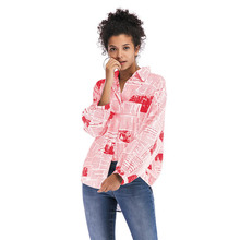 YHW05 Fashion Krant Print Blouse Shirt Lange Mouw Knop Casual Vrouwen Lente <span class=keywords><strong>Zomer</strong></span> Dames Tops Turn-Down Kraag