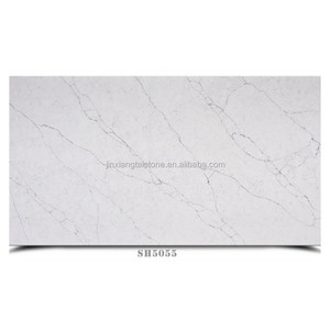 Man made white quartz stone large slabs with light grey veins for indoor wall background, kitchen countertop, table tops