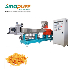Corn Snacks Double Screw Extruder Line Automatic Cereals Snacks Machine Rice Crispys Plant
