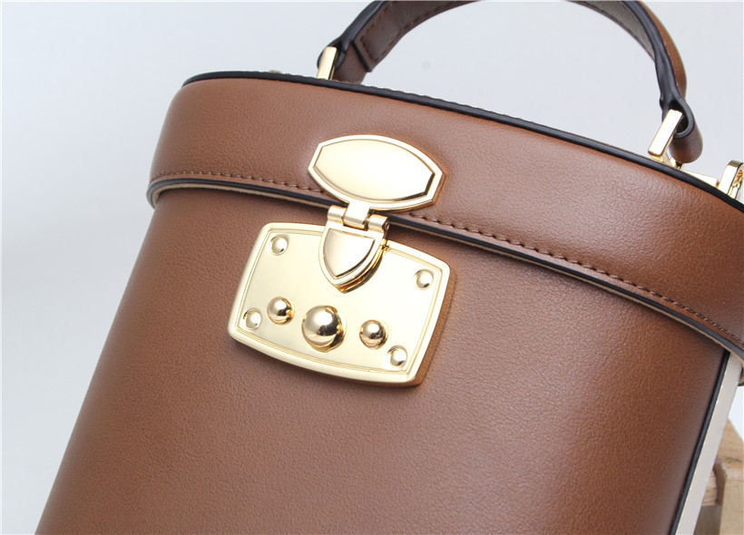Fashionable new real leather bucket bag vintage styling medicine case bag single shoulder cross body lady bag