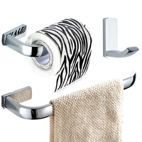 Wall Mounted Silver Brass 3 Pieces Bathroom Accessories Sets Robe Hook Towel Ring Toilet Paper Holder Modern Chrome Fittings