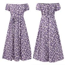 Женское однотонное платье с оборками, летнее сексуальное платье с открытыми плечами, повседневное Свободное длинное платье макси с разрезо...(Китай)