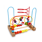 Kids educational colorful wooden toy around bead maze game children toy