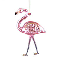 Christmas tree home decoration hanging hand blow glass flamingo ornament