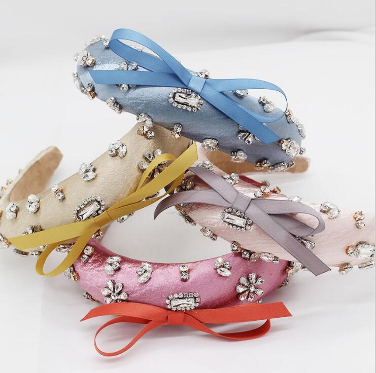 wholesale fashion gorgeous women crystal satin hard headband bow detailed embellished padded headband for women 2019