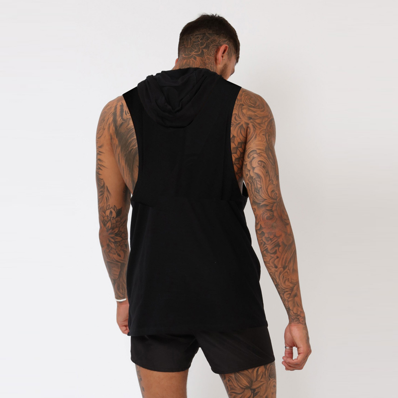 Custom print Muscle Mens Tank Tops 95% Cotton 5%Spandex  breathable Elastic bodybuilding Fitness Hooded Tank Tops