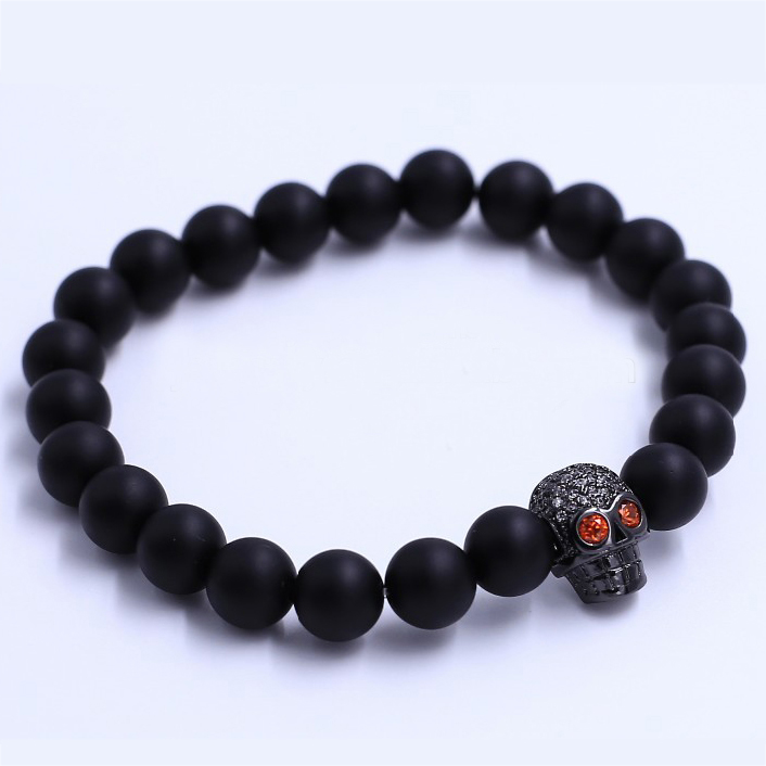 Punk Rock Gothic Red Eye Skull & Bone Rock Bracelet Bangle Inspired Chain Wristband Hand Stone Agate Bracelet