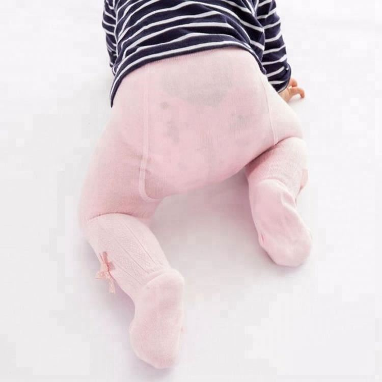 High Quality Combed Cotton Bow Pink White Baby Girl Pantyhose Kids