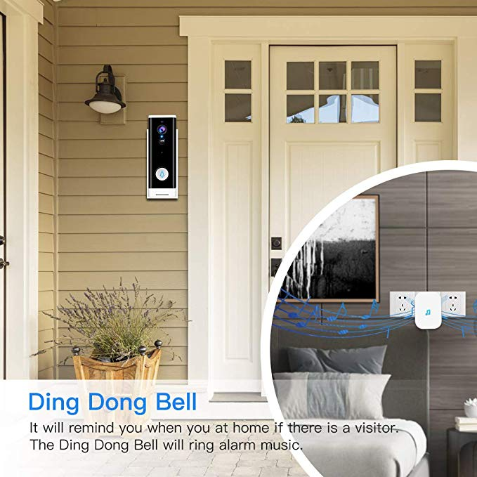 WiFi Video Doorbell 1080P Wireless Smart Door Bell Camera 2-Way Talk PIR Motion Detection Night Vision TuyaSmart APP