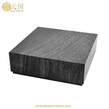 Futuristic Low Plinth Square Kubik Carrara Black Marble Coffee Table Product