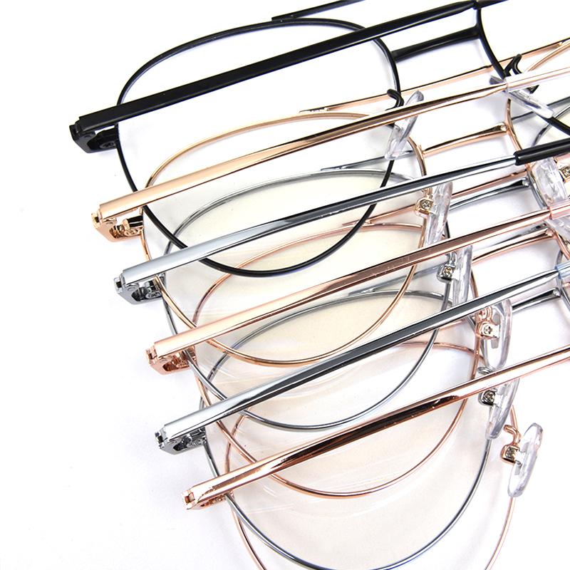 Son tasarım toptan özelleştirilmiş metal çift köprü optik gözlük çerçeveleri mavi ışık engelleme gözlük