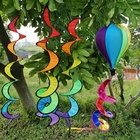 Polyester Garden Windmill Decorative Wind Spinner Tent Garden Home Decorations Toys Colorful Foldable Rainbow Spiral Windmill