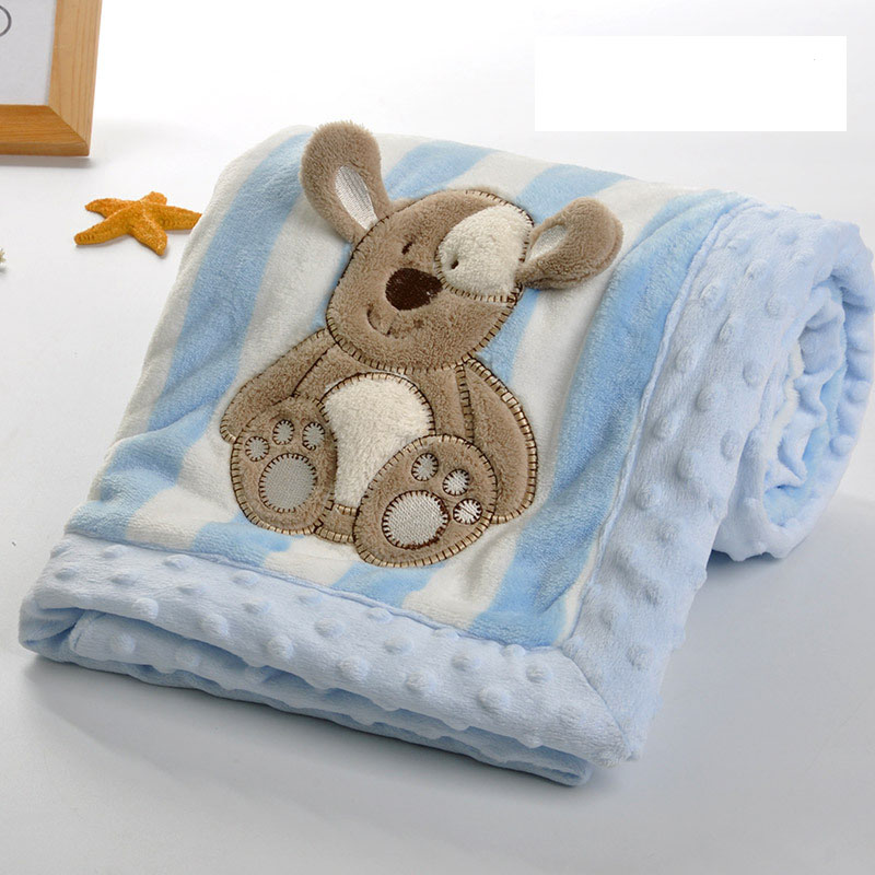 Factory Supply super soft double printing  Cartoon embroidered flannel  baby blanket