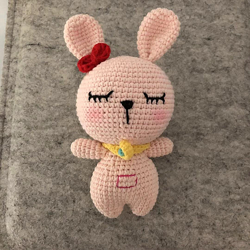 Light pink <strong>rabbit</strong> 100% Cotton Yarn Crochet toy Rattles Baby Stuffed crochet yarn Toys