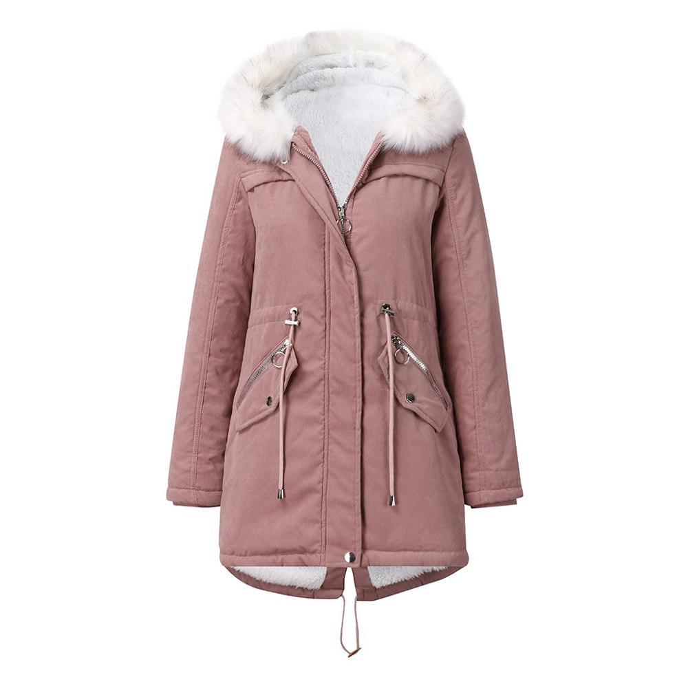 महिला windproof लंबी ऊन कोट सर्दियों के गर्म महिलाओं फर कॉलर ओवरकोट