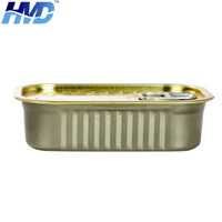 Custom Rectangular Seal Ring-Pull Tin Can with Lid for Tuna Fish Meat Food Packing