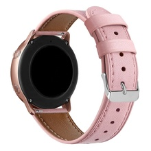 Best Leather + Stainless Steel Buckle Strap for Galaxy Watch Active 42mm/20mm Wide Female Adjustable Wrist Watch Band