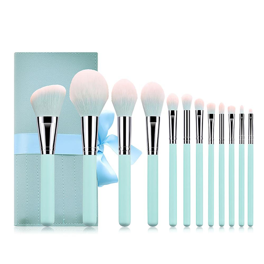 Meikapu free <strong>sample</strong> 12pcs vegan <strong>makeup</strong> brush set light blue soft synthetic hair for <strong>makeup</strong> artist