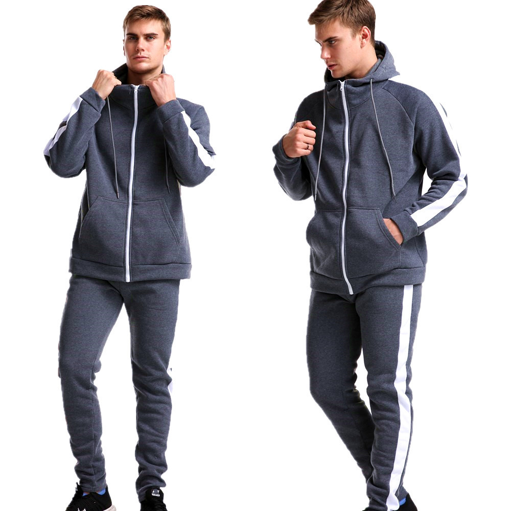 wholesale custom new design full zip poly tracksuit men hoodies set