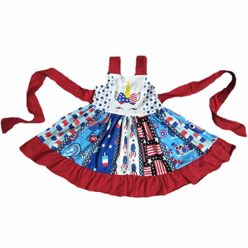 ready to ship Wholesale the latest design clothing sets top quality pattern top and pant baby girl ruffle outfits 4th july