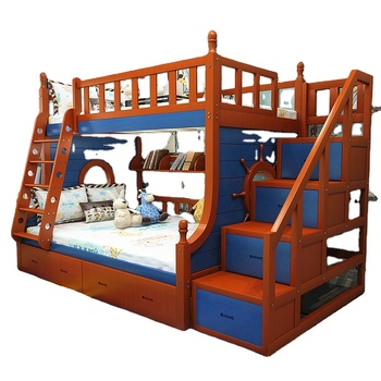 No.1503 Soild Pine Wood Bunk Bed With Wardrobe Stairs, drawer & bookshelf for kids Bedroom Furniture