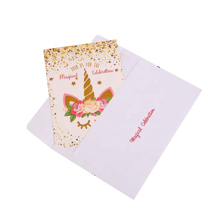 24pcs Unicorn Invitations with 24 Envelopes and Unicorn Thank You Tags, Rainbow Glitter Unicorn Birthday Party Invitation Cards