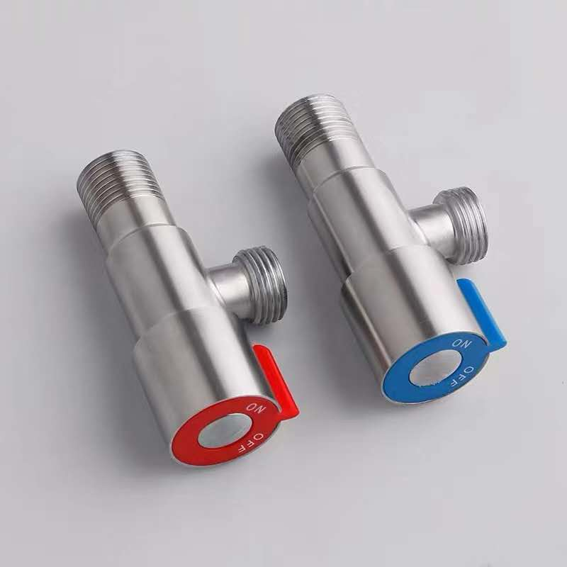 Bathroom 1/2 Inch Chromed Wall Mounted Triangle Valve Water Stop Round Handle Open Triangle Valve
