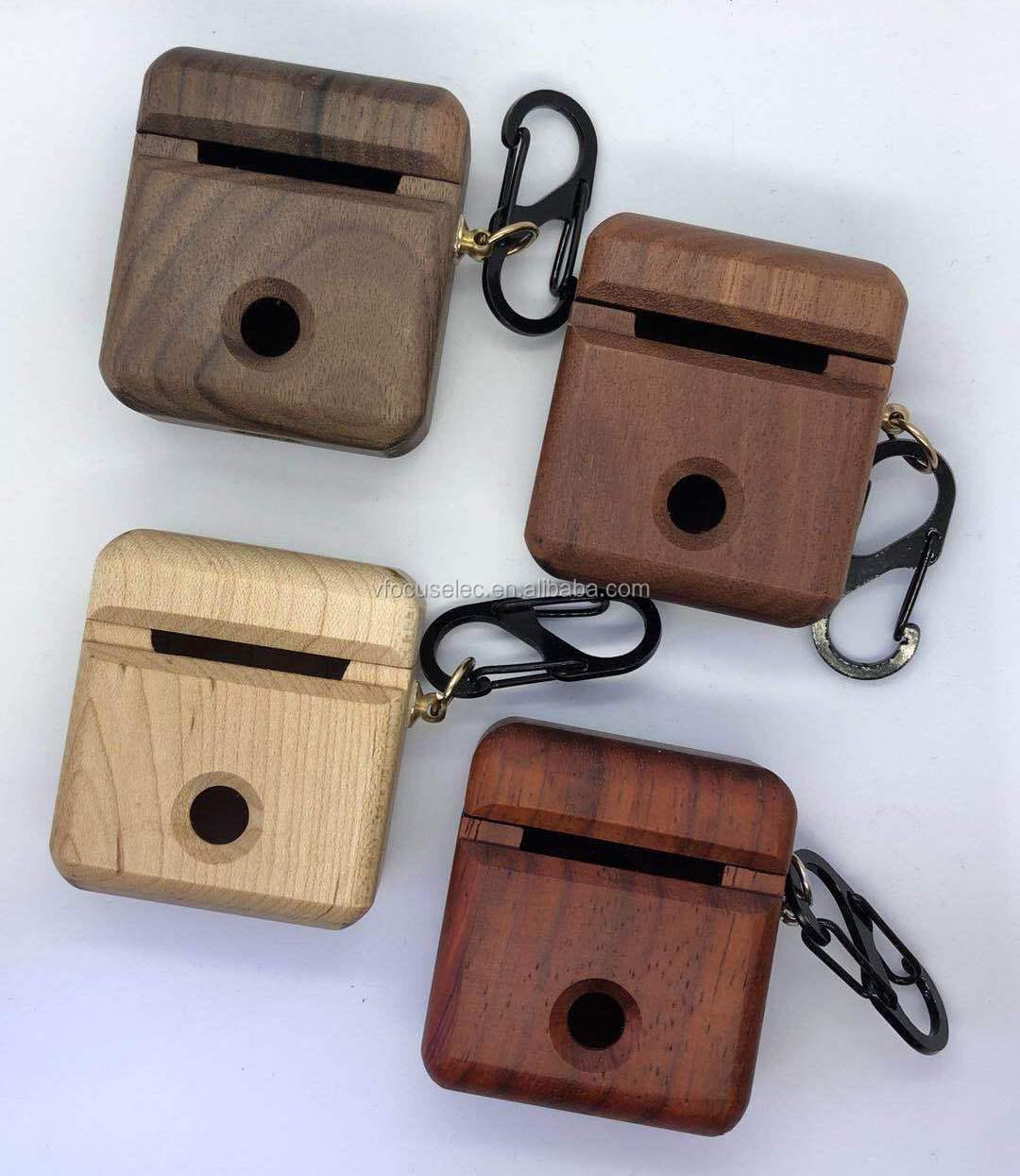 עץ אלחוטי אוזניות מקרה עבור אפל AirPods 2 עץ אוזניות מקרי
