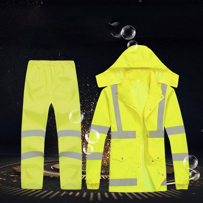 Windproof High Visibility Reflective dress suit Mens new fluorescent yellow safety coat with hoodies - KingCare | KingCare.net
