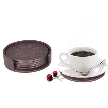 custom printed round leather coasters wholesale cardboard paper mdf coffee tea cup coaster holder for drink