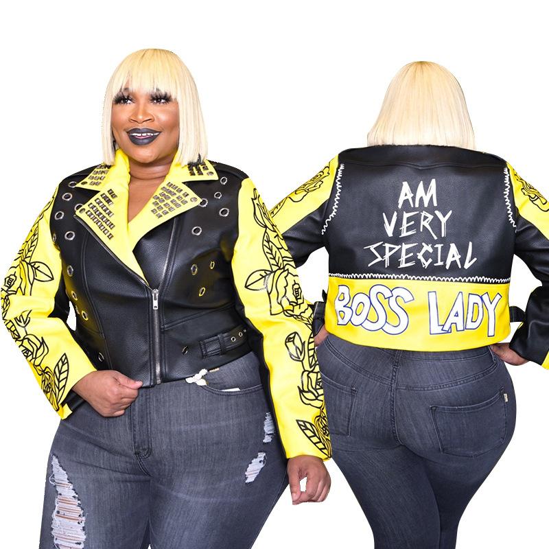 Automne Vêtements Femmes Doudounes grande Taille Mode femmes Vestes En Cuir Rivet Femmes Bomber Veste