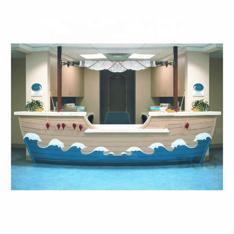 Luxury Modern Boat Shaped Wood RED Mini Bar Factory Price Coffee Restaurant Home LED Marble Counter Bar