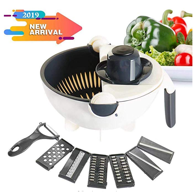 New 9 in <strong>1</strong> Multifunctional Rotate The Vegetable Chopper Cutter with Drain Basket and 6 Dicing Blades