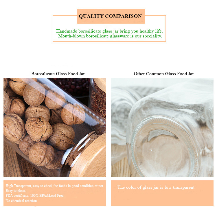 335 580 800ml Leakproof Screw Handmade Borosilicate Glass Food Storage Jar With Acacia Wooden Lid
