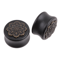 Black Natural Wood Mandala Flower Ear Plugs Tunnels Ear Expanders Earring Gauges Piercing Plug