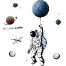 """Космический астронавт наклейки на стену персональный космический плакат """"Планета"""" бумажные наклейки детская комната декоративные обои сам...(Китай)"""