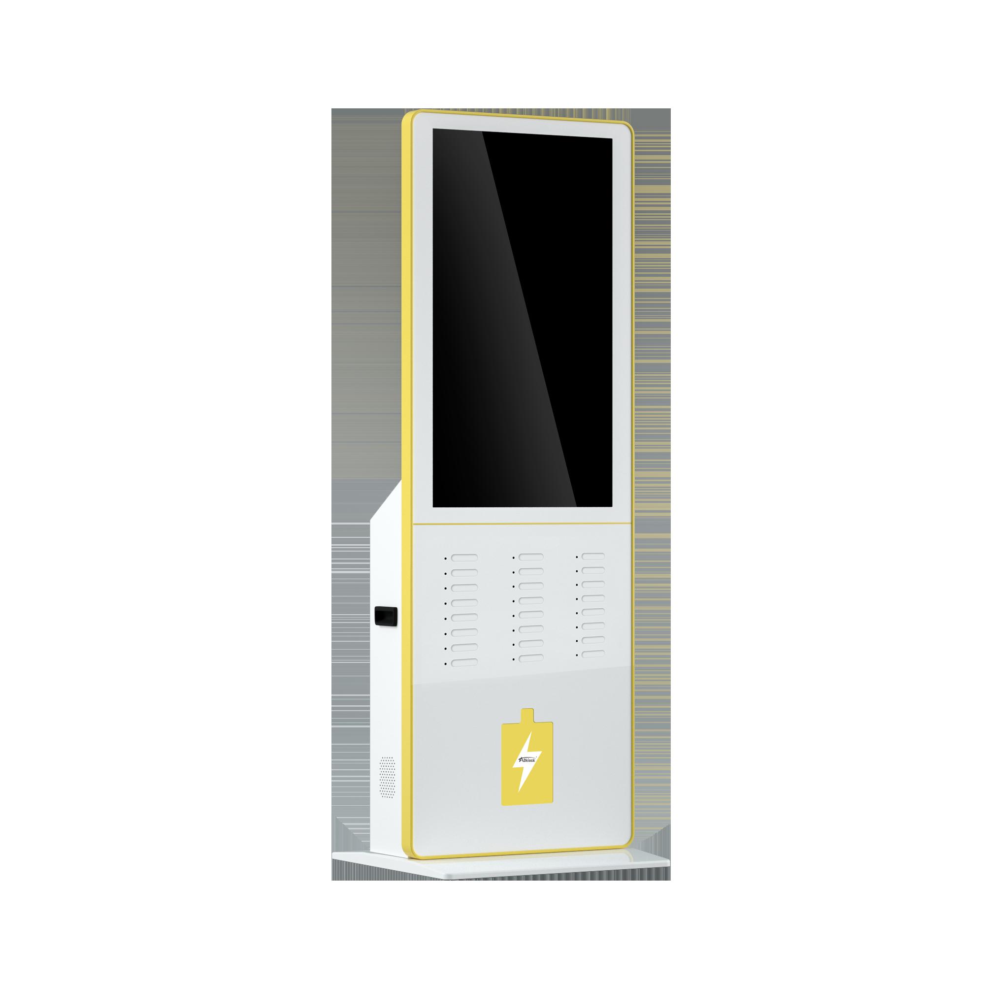 デジタルサイネージ広告画面付き公共携帯電話充電パワーバンクステーション