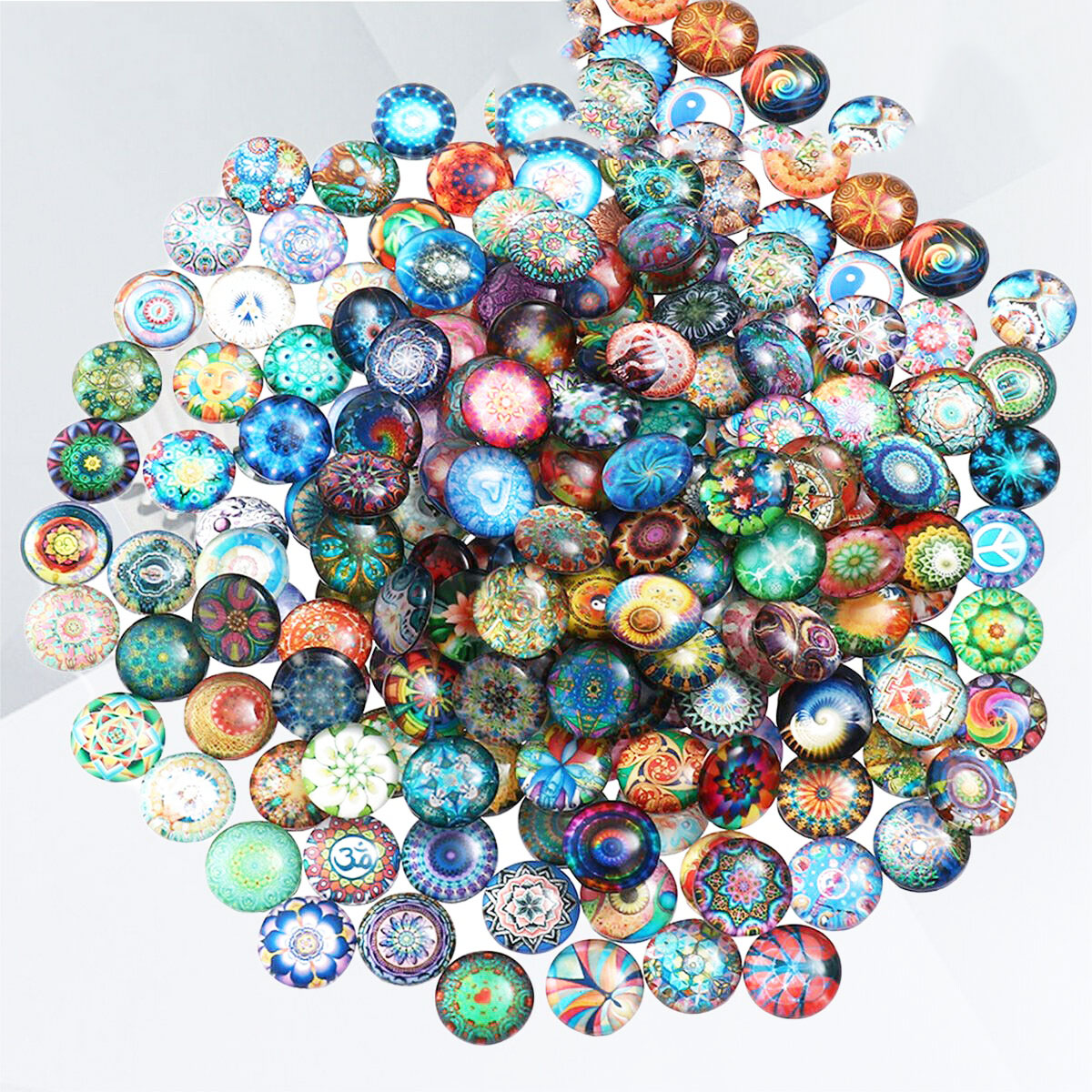 Mixed Round Mosaic Tiles Crafts Glass Supplies for Jewelry Making Game glass beads suitable for making jewelry works in jewelry